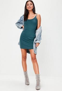 Vestido de tirantes corto de canalé en azul