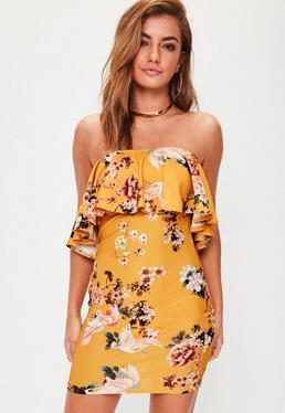 Yellow Printed Bardot Dress