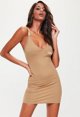 Brown Roman Numerals Embroidered Bodycon Dress