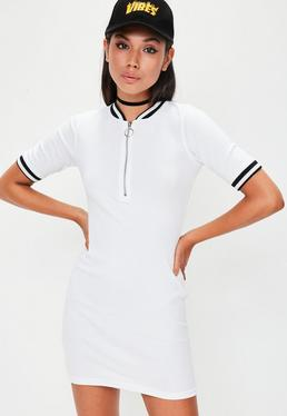 White Rib Short Sleeve Bodycon Dress