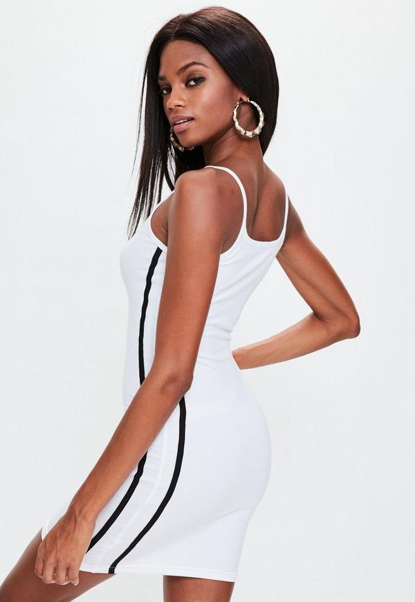 White Strappy Black Binding Bodycon Dress