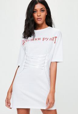 Weißes Slogan T-Shirtkleid mit Schnürung