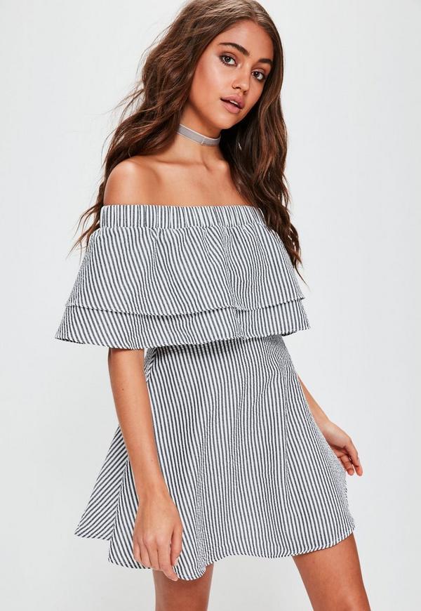 Grey Stripe Ruffle Layer Bardot Swing Dress