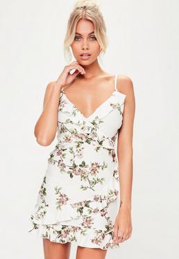 White Floral Sleeveless Ruffle Tea Dress