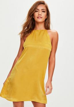 Yellow Satin Strappy Back Swing Dress