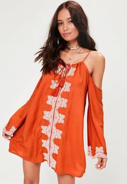 Orange Embroidered Shift Dress