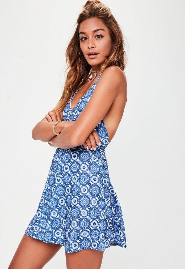 Blue Porcelain Print Strappy Back Skater Dress