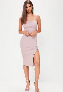 Pink Ribbed Popper Midi Dress