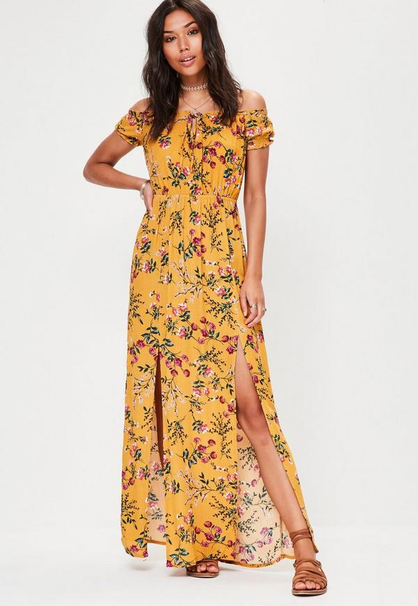 Yellow Floral Print Bardot Maxi Dress