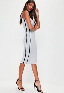 Grey Binding Strappy Midi Dress