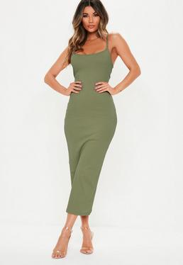 Khaki Ribbed Midi Dress