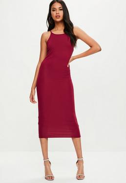 Red Racer Neck Midi Dress