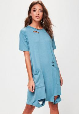 Blue Distressed Pocket T Shirt Dress