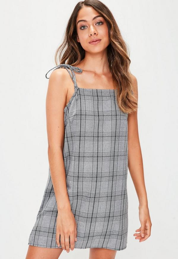 Grey Prince Of Wales Check Tie Strap Cami Shift Dress