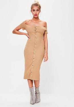 Brown Ribbed Bardot Midi Dress