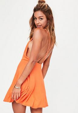 Orange Strappy Back Skater Dress