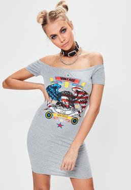 Szara dopasowana sukienka mini bardot z graficznym nadrukiem