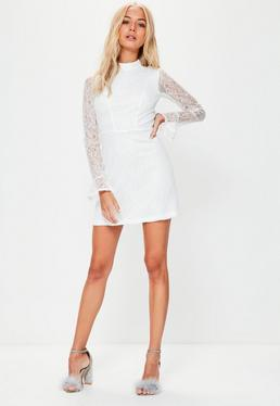 White Lace High Neck Flare Cuff Shift Dress