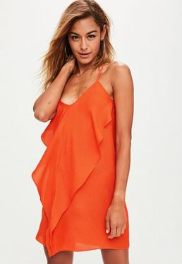 Orange Strappy Ruffle Front Shift Dress