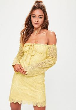 yellow lace bardot tie detail shift dress