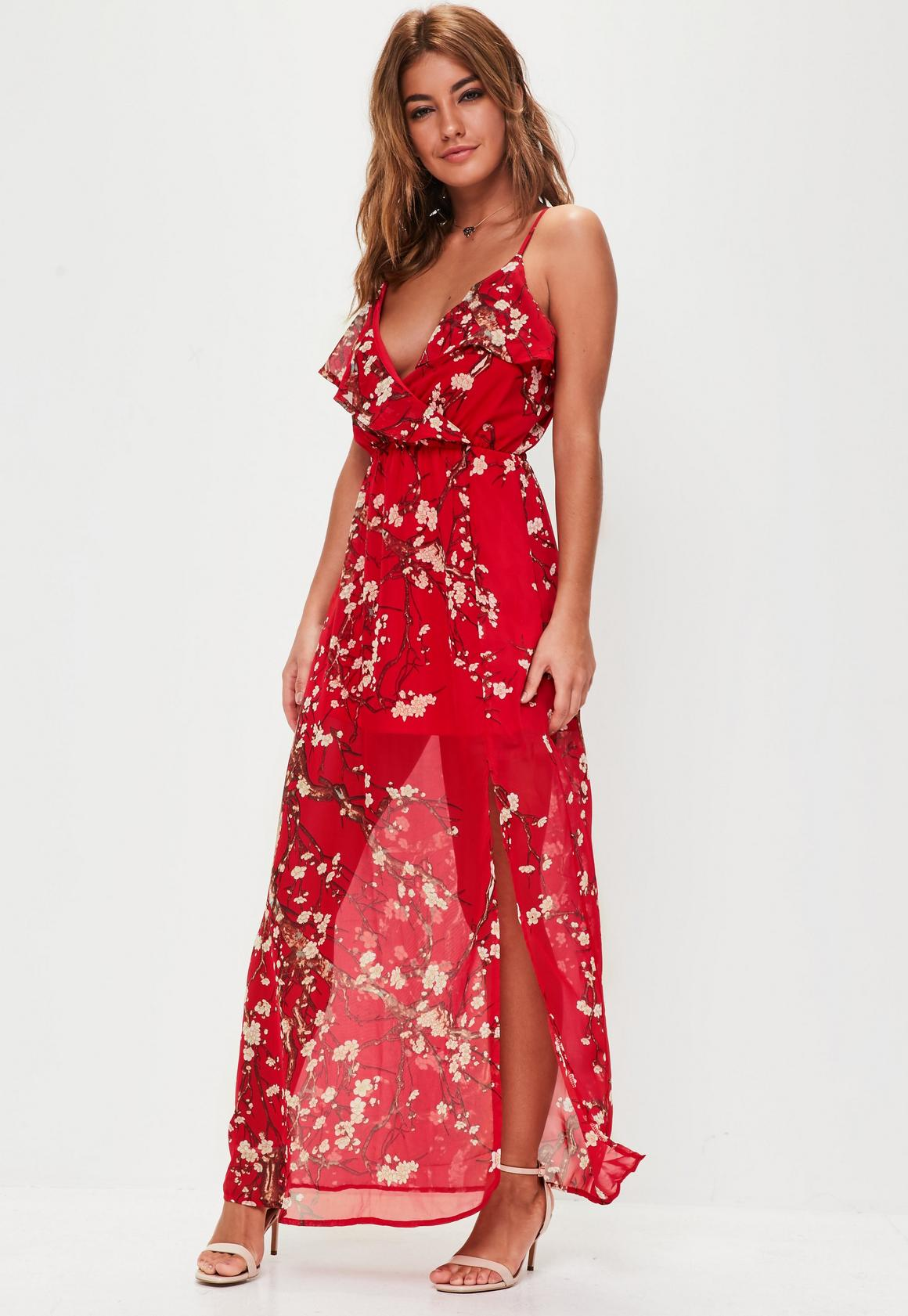 Red Floral Print Strappy Frill Dress | Missguided