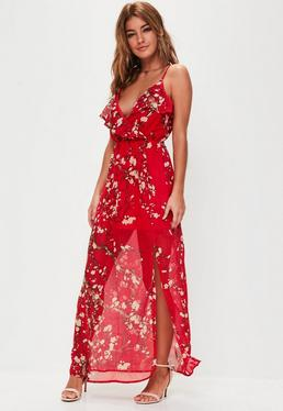 Red Floral Print Strappy Frill Dress