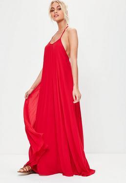 Vestido largo plisado en rojo