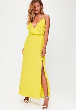Yellow Ruffle Cami Maxi Dress