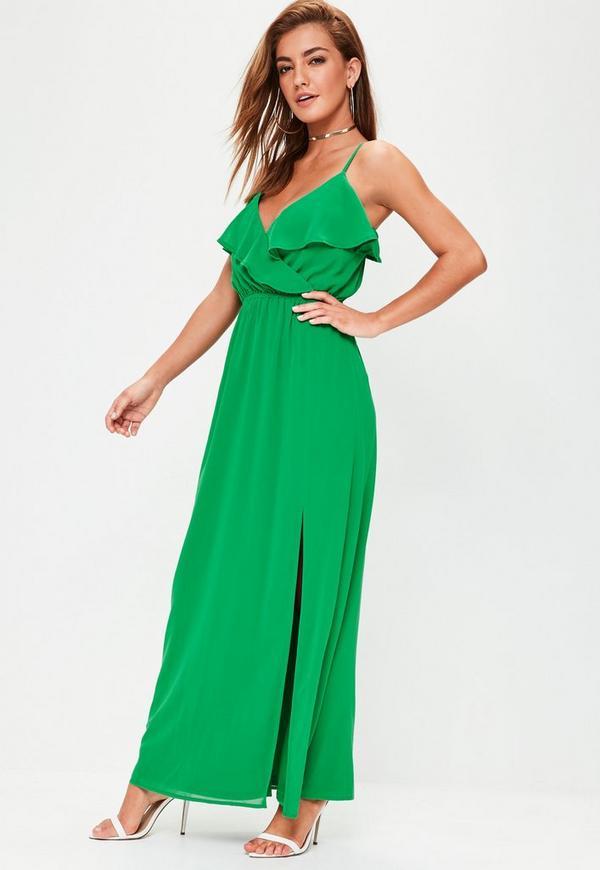 Green Ruffle Cami Maxi Dress