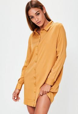 Orange Oversized Shirt Dress
