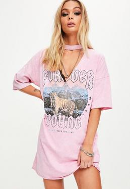 Pink Acid Slash Neck Graphic T Shirt Dress