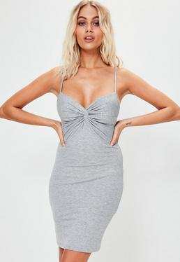 Grey Knot Front Bodycon Mini Dress