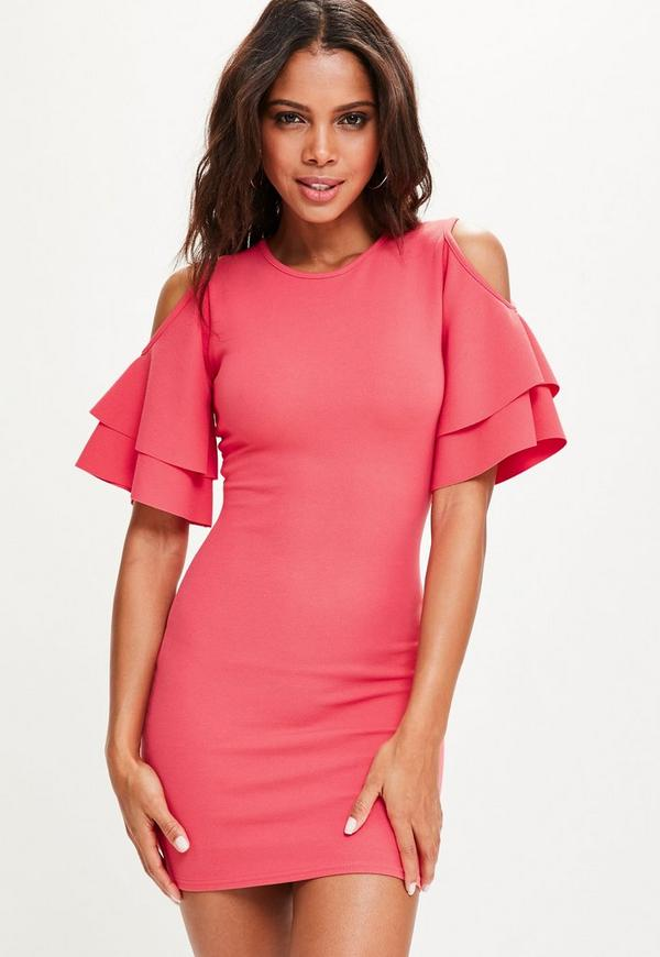 Pink Cold Shoulder Frill Sleeve Mini Dress