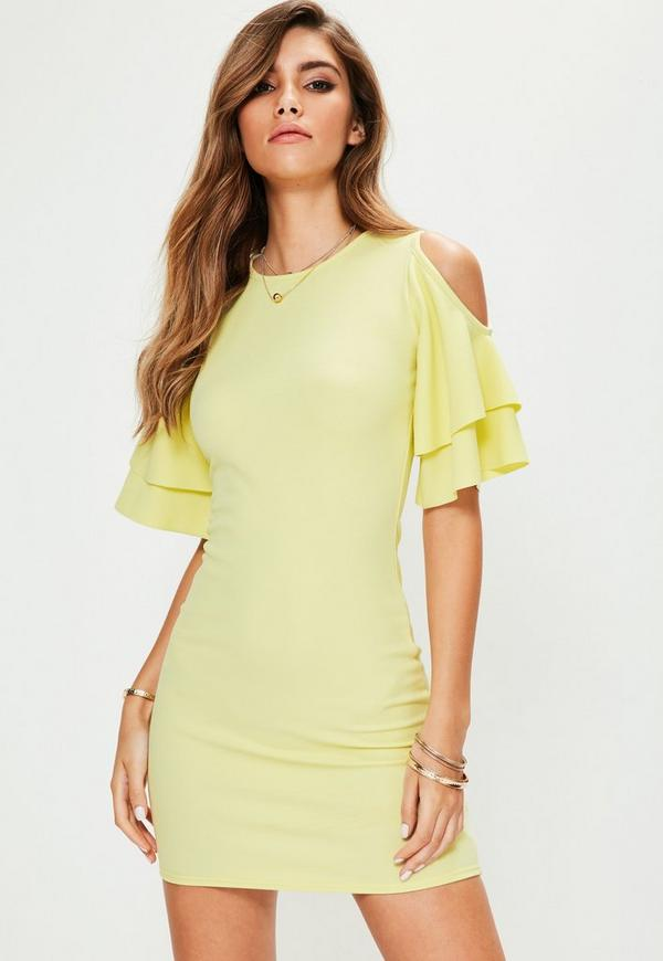 Yellow Cold Shoulder Frill Sleeve Mini Dress