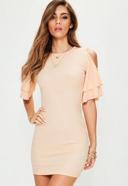 Pink Cold Shoulder Frill Sleeve Mini Dress