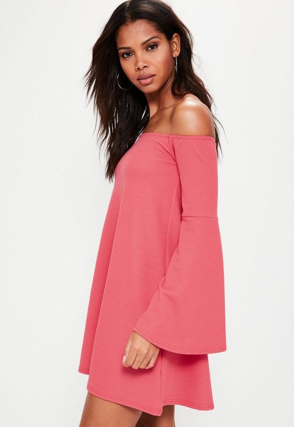 Pink Bardot Flared Sleeve Mini Dress