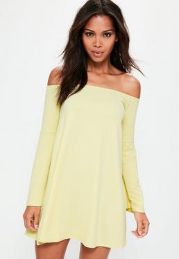 Yellow Bardot Flared Sleeve Mini Dress