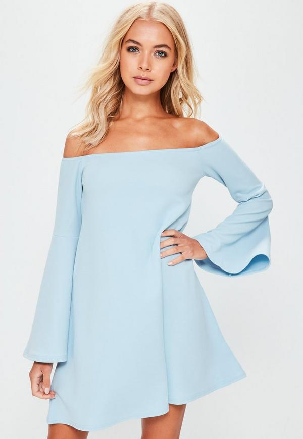 Blue Bardot Flared Sleeve Mini Dress