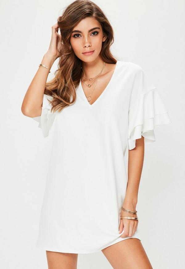 White V Neck Frill Sleeve Mini Dress