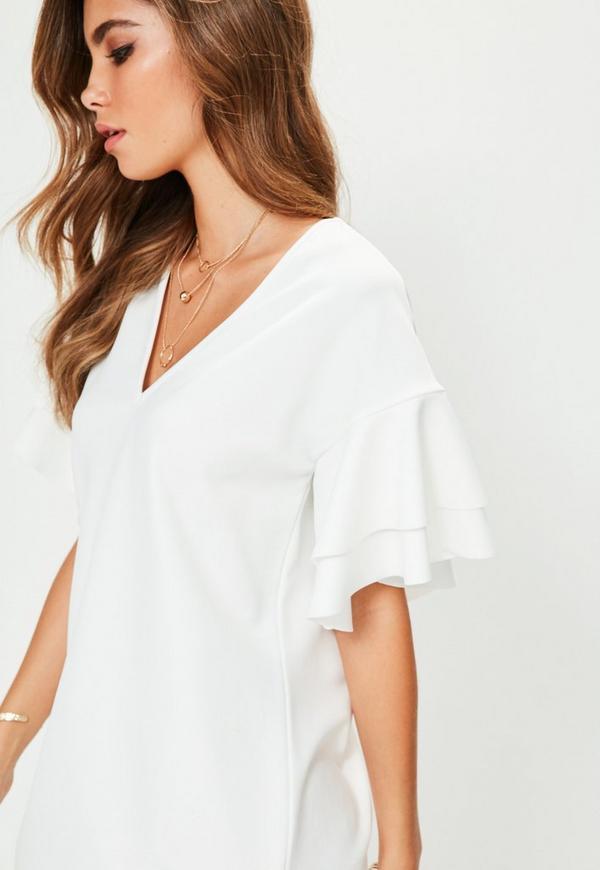 White V Neck Frill Sleeve Mini Dress | Missguided