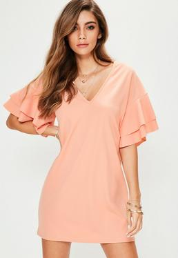 Pink V Neck Frill Sleeve Mini Dress