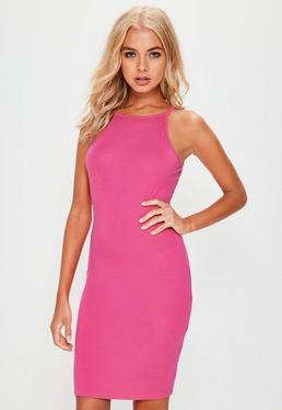Pink 90's Neck Bodycon Dress