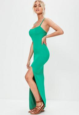 Green Cami Strap Thigh Split Maxi Dress