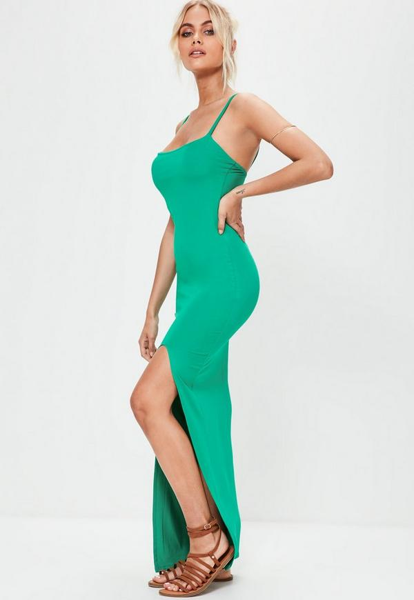 Green cut out maxi dress with thigh split dress