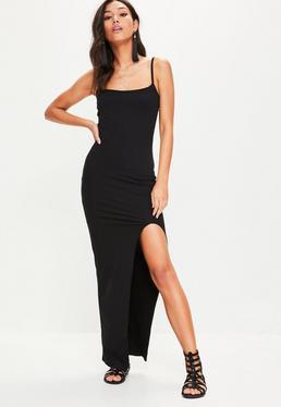 Czarna sukienka maxi na ramiączkach z rozcięciem do uda