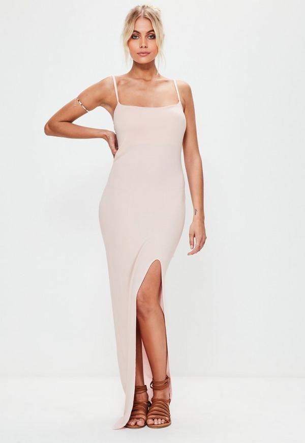 Nude Cami Strap Thigh Split Maxi Dress