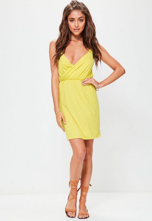 Yellow Cami Wrap Mini Dress
