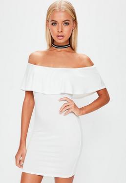 White Frill Bardot Bodycon Dress