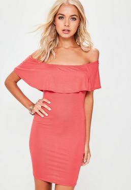 Pink Frill Bardot Bodycon Dress