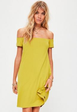 Green Bardot Swing Dress